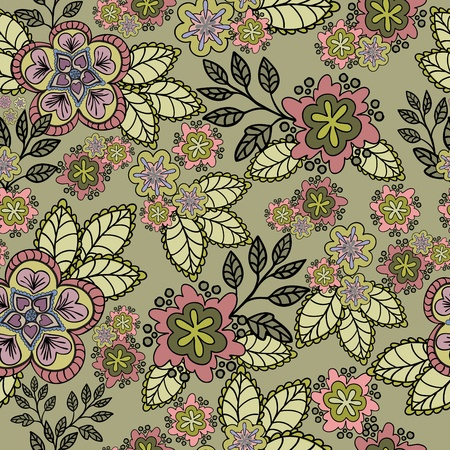 seamless floral background sand-colored Vector