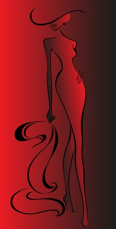 heelpiece: silhouette of slender woman running in a hat and red dress