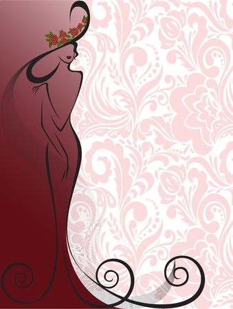 silhouette of a slender woman in a long dress and hat in floral background