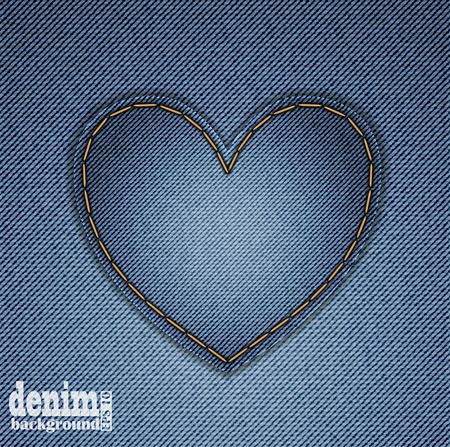 Blue heart on denim background. Greeting Card for Valentine Vector