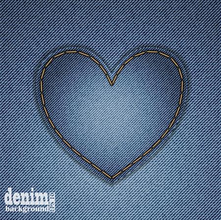 Blue heart on denim background. Greeting Card for Valentine Vector