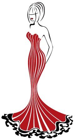 긴 빨간 드레스에서 아름 다운 우아한 여자