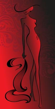 cola mujer: silueta de mujer delgada con un sombrero con un adorno de color rojo