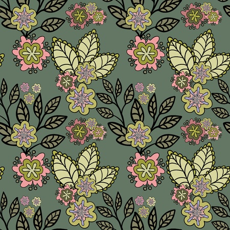 Dark green seamless background with a beautiful hand-drawn flowers Vector