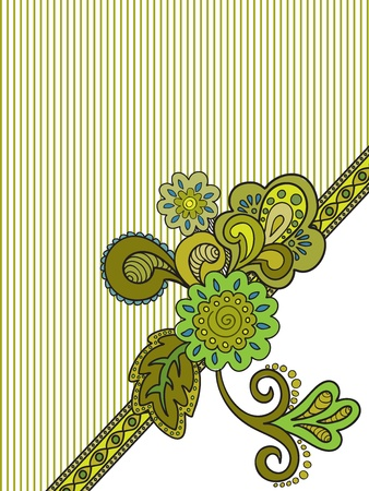 green floral composition on the striped background  Vector