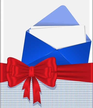 blue envelope  tied with red ribbon with  bow