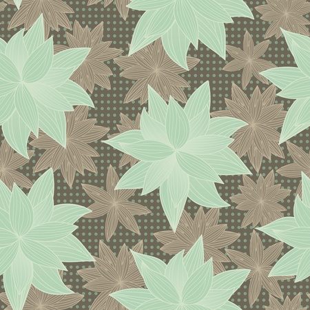 jointless: seamless background in peas with green and brown flowers