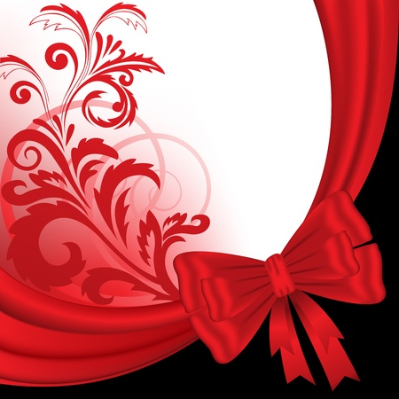 abstract black and red background with a silk ribbon and floral ornaments Vector