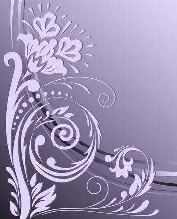 Beautiful floral design  on the vertical purple background Vector