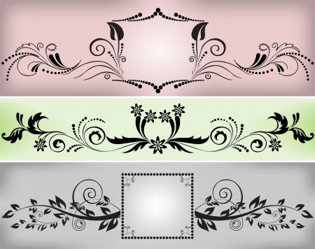 set of beautiful black ornaments in the form of borders and frames Vector