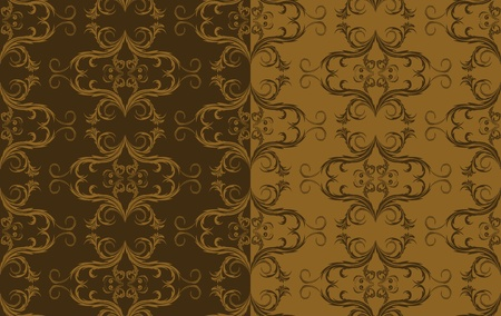 set of antique seamless ornaments in shades of brown Vector