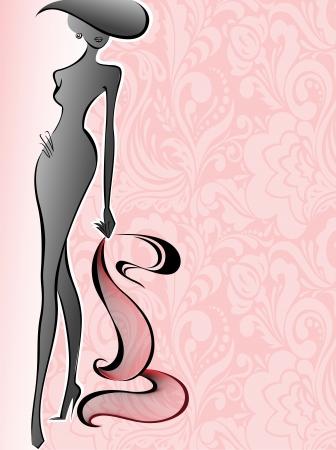 핑크 꽃의 배경에 모자에 날씬한 여자의 실루엣 일러스트