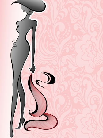 glamorous: silhouette of a slender woman in a hat on a background of pink flowers