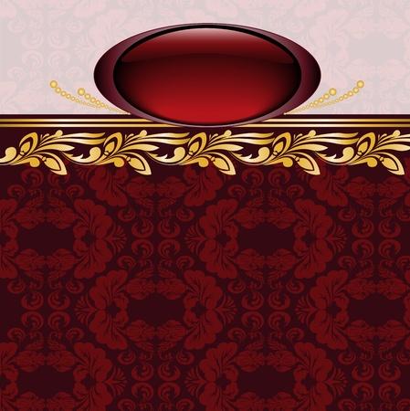 burgundy background: vintage gilded emblem on burgundy background