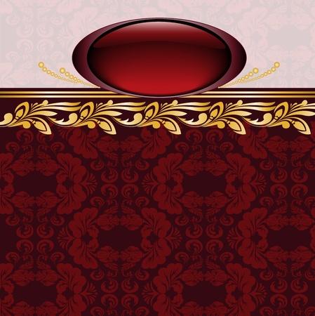 brocade: vintage gilded emblem on burgundy background