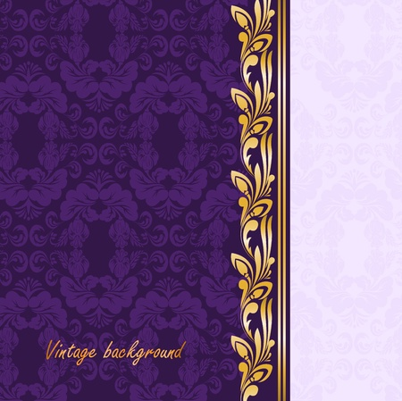 vintage gilded ornament on a purple background Vector