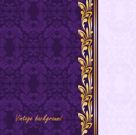 brocade: vintage gilded ornament on a purple background