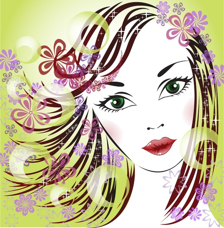 green elf: portrait of a beautiful girl with flowers in her hair
