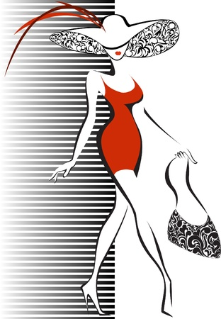모자와 빨간 드레스에 슬림 실행하는 여자의 실루엣