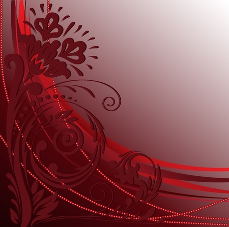 beautifu: Beautiful floral pattern with a string of beads on a red background
