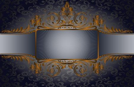 enveloppe ancienne: mill�sime fond noir avec un cadre dor� sur large bande Illustration