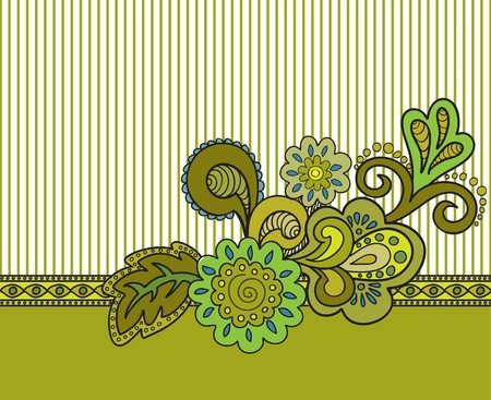 horizontal floral composition on the striped background of mustard