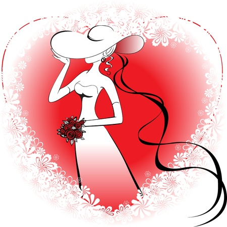 woman with a bouquet and a hat with a tail on the background of the heart  and  flowers  Illustration