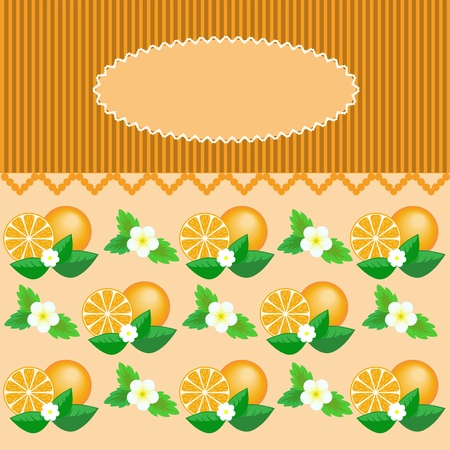 Oval dentate frame on a striped background with oranges Vector