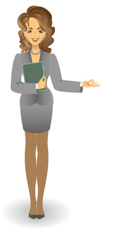 neighborly: attractive young woman in a gray business suit holding documents