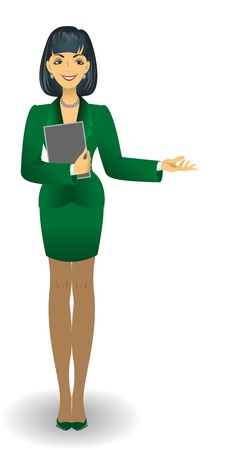 skirt suit: attractive young woman in a green business suit holding documents