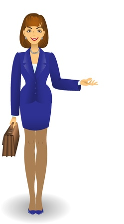 skirt suit: attractive young woman in a blue business suit with a briefcase