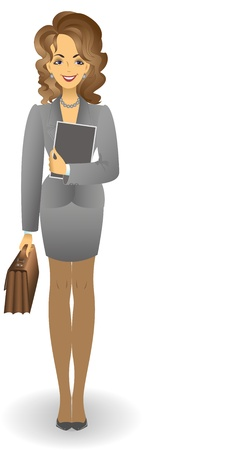 skirt suit: attractive young woman in a gray business suit with a briefcase holding documents