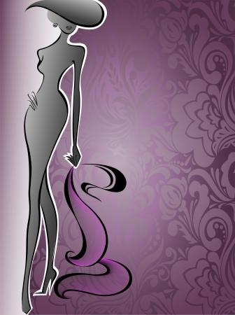 silhouet van een slanke vrouw in een hoed op een achtergrond van paarse bloemen