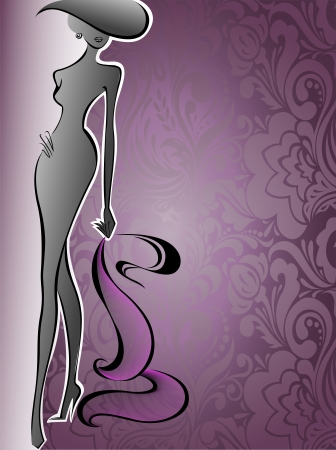 glamorous: silhouette of a slender woman in a hat on a background of purple flowers