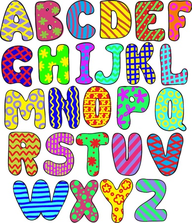 colorful whimsical hand-drawn alphabet Vector