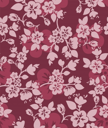 burgundy seamless background with flowering branches of cherry and apple trees Vector