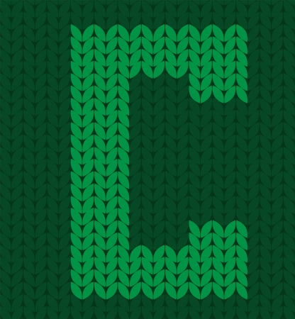 knitted green alphabet Vector