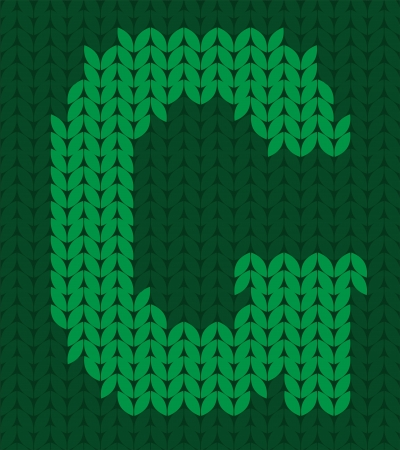 darning: knitted green alphabet