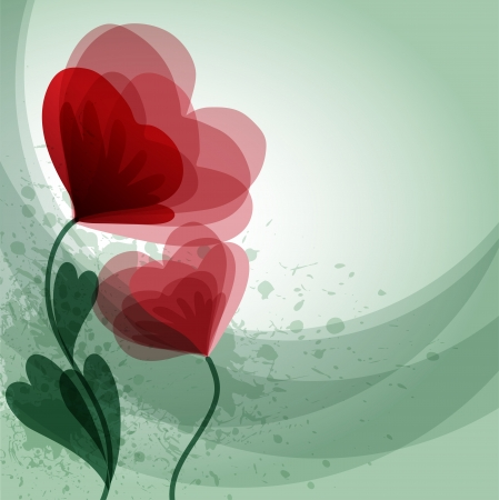 Romantic background with red flowers and place for text Vector