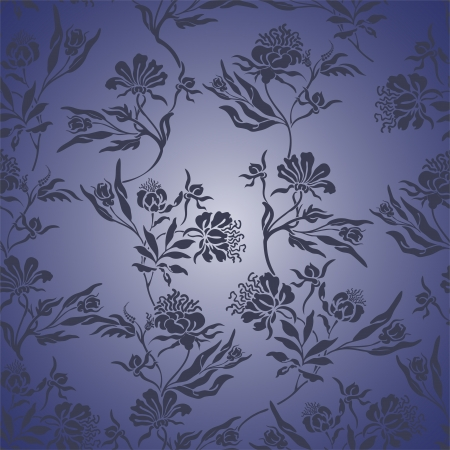 randomly: seamless blue background with randomly distributed blue posies