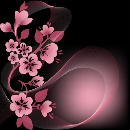 plum flower: abstract black background with  flowering branches and the veil
