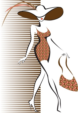 elegant lady: slim silhouette running woman in a hat and a bag