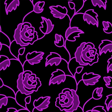 beautiful black seamless background with a purple pattern of roses Vector