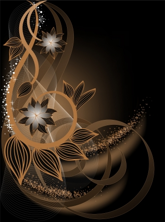 brown swirl: beautiful brown background with flower composition