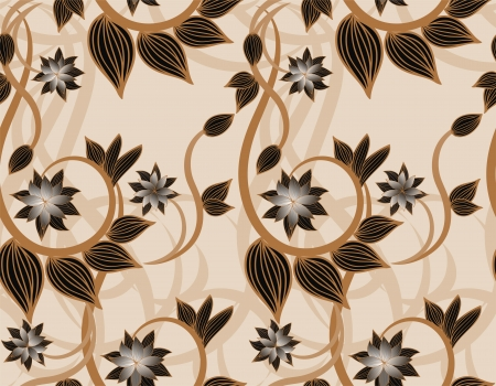 repeat structure: Beautiful seamless floral background with brown plants