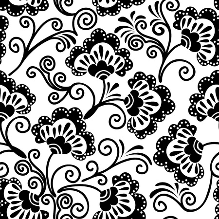 damask seamless: white and  black floral background, which can be used as seamless Illustration