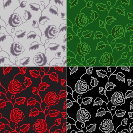 artistic flower: Beautiful seamless background with roses in four colors