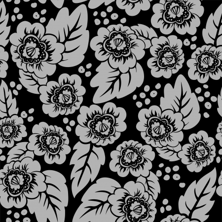 burgeon:  seamless black background with a beautiful gray floral ornaments