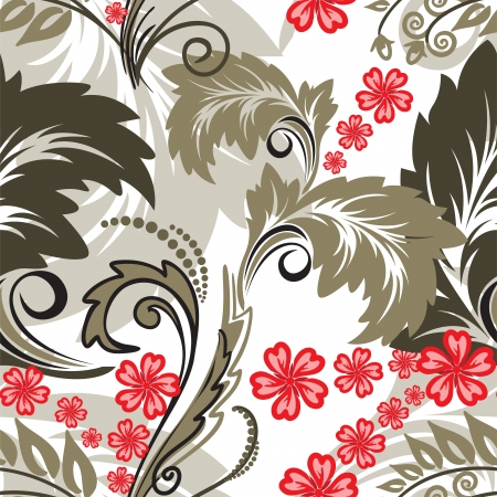 Beautiful seamless pattern with red flowers Vector