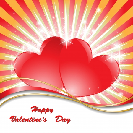 beautiful bright background with two sparkling hearts Vector